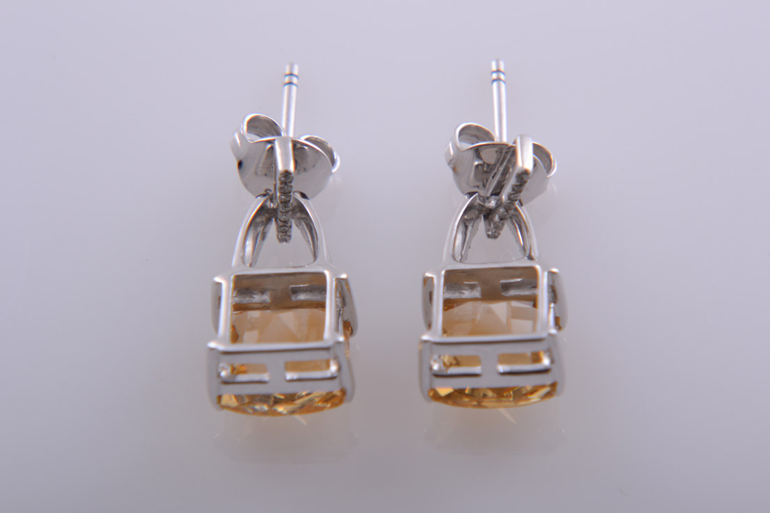 9ct White Gold Modern Stud Earrings With Citrine And