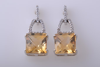 9ct White Gold Modern Stud Earrings With Citrine And Diamonds