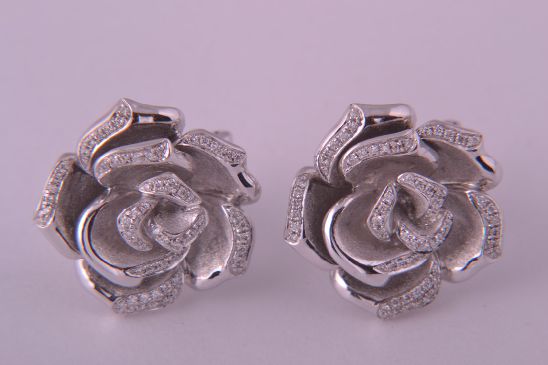 9ct White Gold Modern Stud Rose Earrings With Diamonds