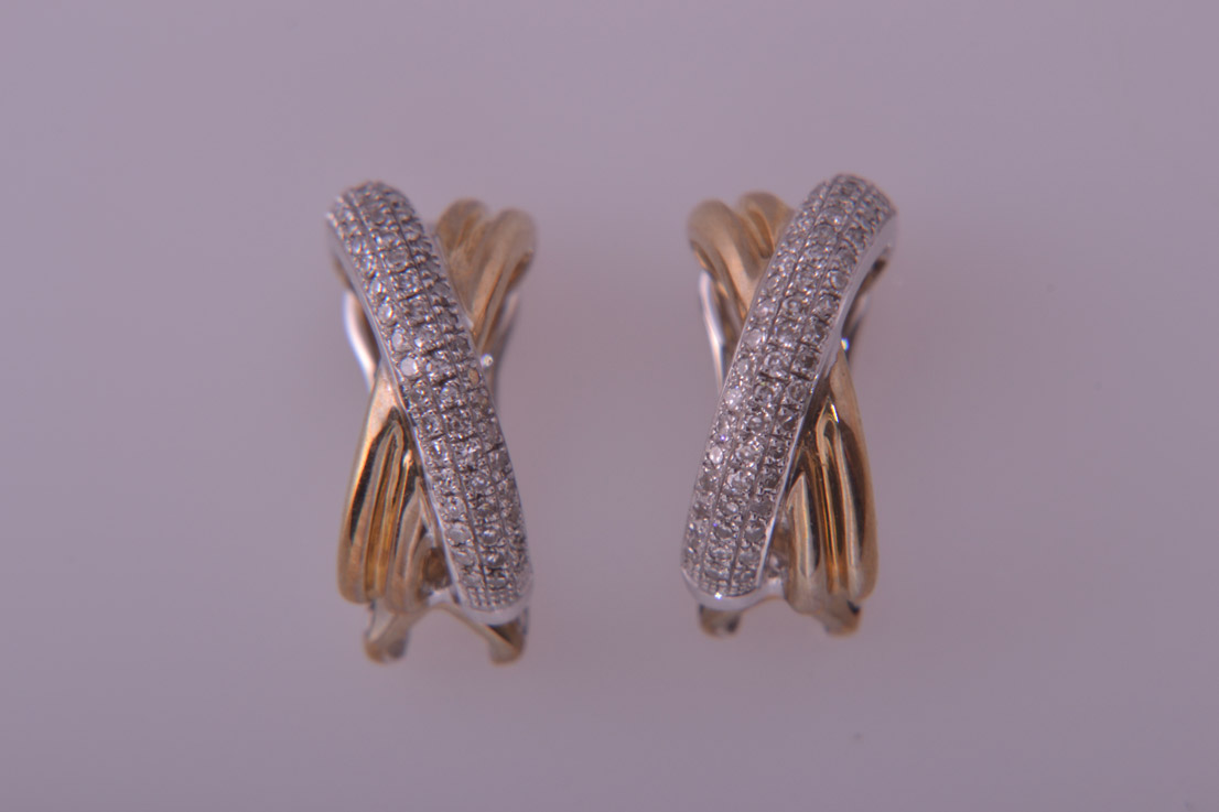9ct Yellow And White Gold Modern Cuff Earrings With Diamonds