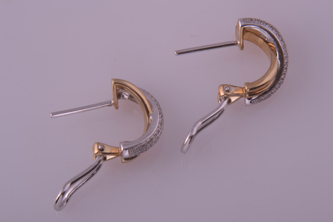 9ct Yellow And White Gold Modern Cuff Earrings With