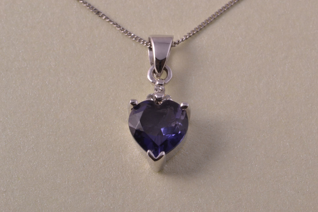 9ct White Gold Modern Heart Pendant With Iolite And
