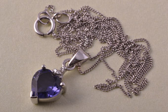 9ct White Gold Modern Heart Pendant With Iolite And Diamonds