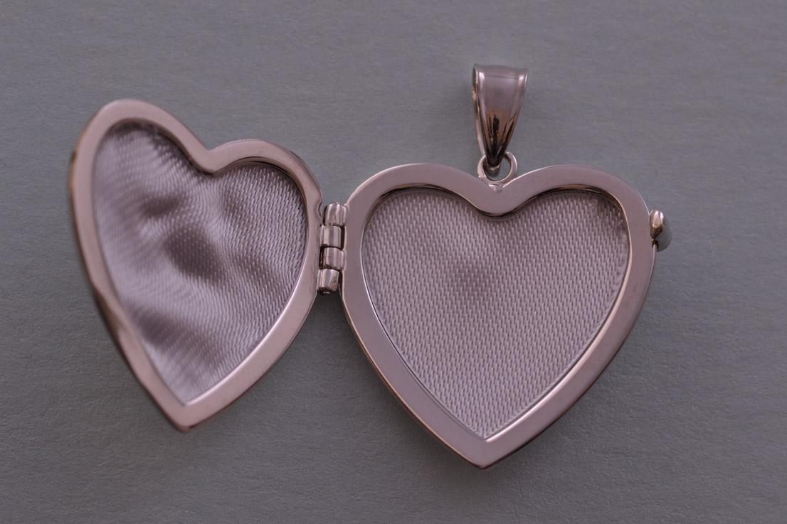 9ct White Gold Modern Opening Heart Locket Modern