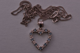 9ct White Gold Modern Heart Pendant With Topaz And Diamonds