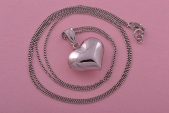 9ct White Gold Modern Heart Pendant