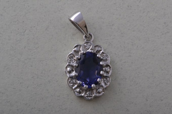 9ct White Gold Modern Pendant With Iolite And Diamonds