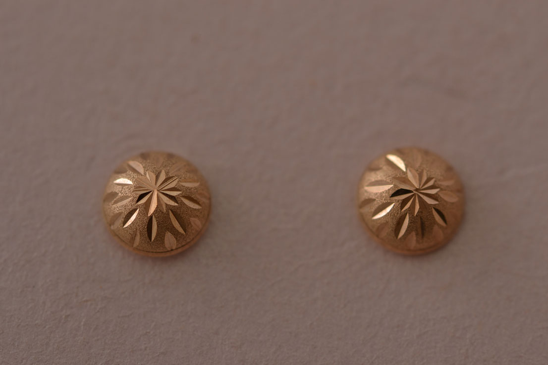 9ct Yellow Gold Modern Stud Earrings