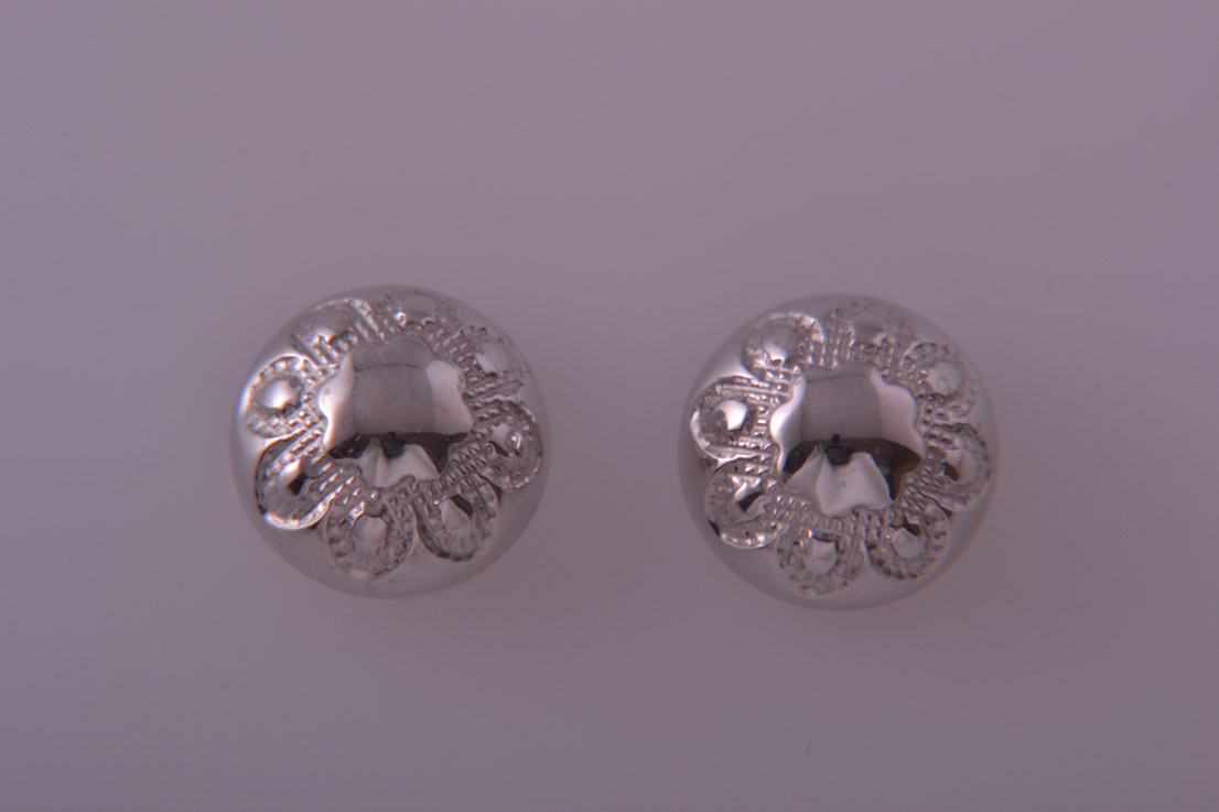 9ct White Gold Modern Stud Earrings With Engraving