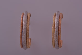 9ct White, Yellow And Rose Gold Modern Stud Hoop Earrings