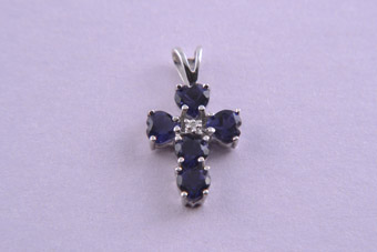 9ct White Gold Modern Cross With Iolite And A Diamond