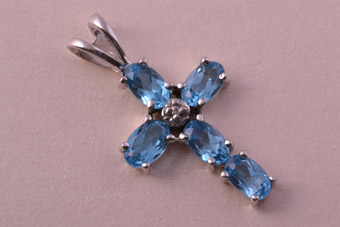 9ct White Gold Modern Cross With Blue Topaz And Diamonds