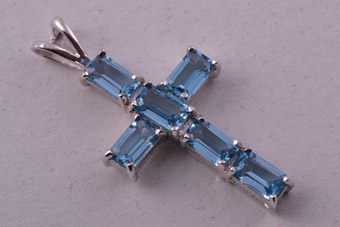 9ct White Gold Modern Cross With Blue Topaz