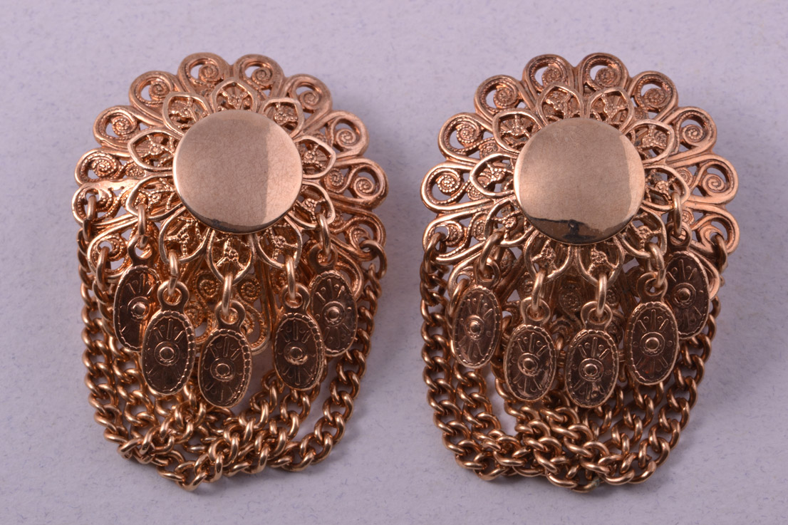 Gilt Vintage Clip On Earrings