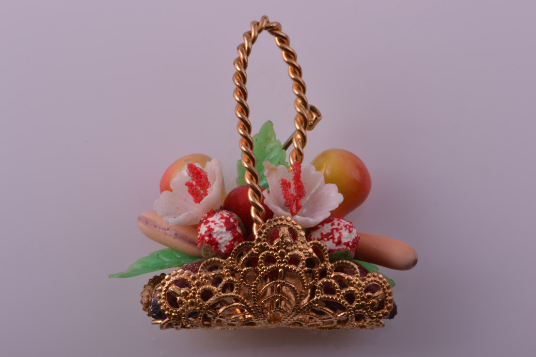 Gilt 1950's Vintage Fruit Brooch
