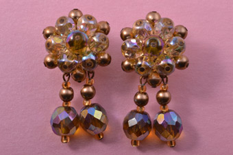 Vintage Clip On Drop Earrings