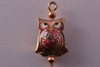 Gilt And Cloisonné Vintage Owl Stick Pin