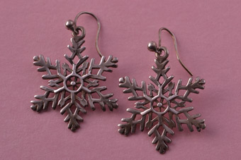 Silver Vintage Hook Drop Snowflake Earrings