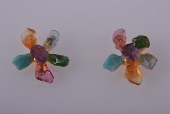 Stud Earrings With Semi Precious Stones
