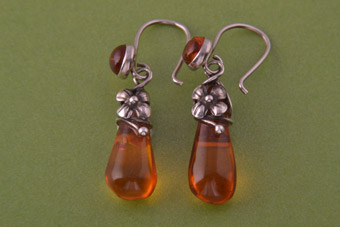 Silver Modern Hook Earrings With Amber