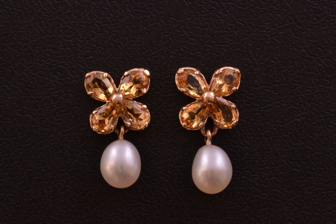 9ct Gold Modern Drop Stud Earrings With Citrines And Pearls