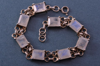 Silver Modern Bracelet With Moonstones