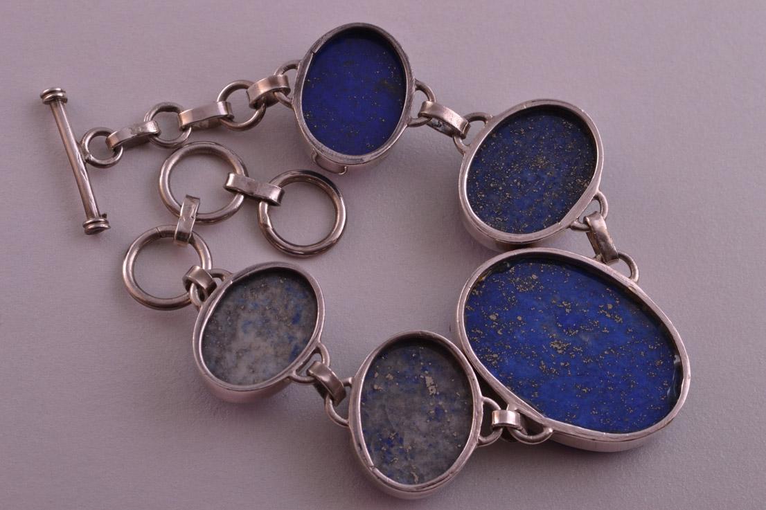 Silver Modern Bracelet With Lapis Lazuli Modern