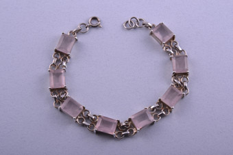 Silver Modern Bracelet With Rose Quartz