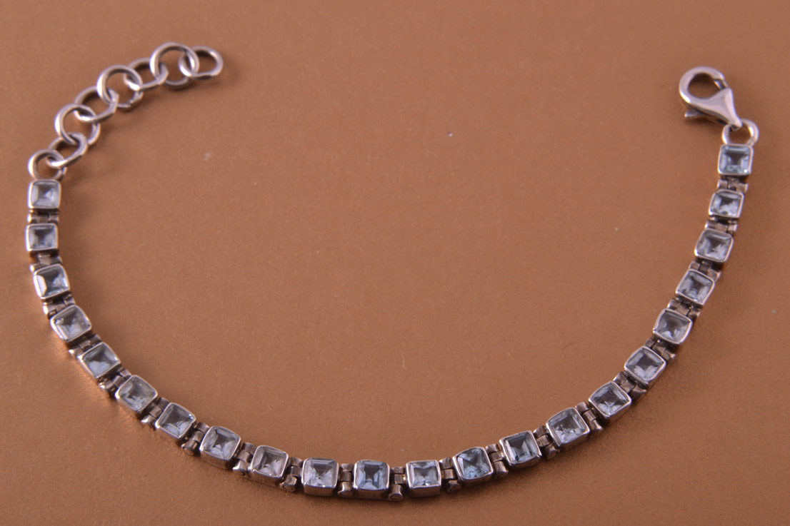 Silver Modern Tennis Bracelet With Blue Topaz