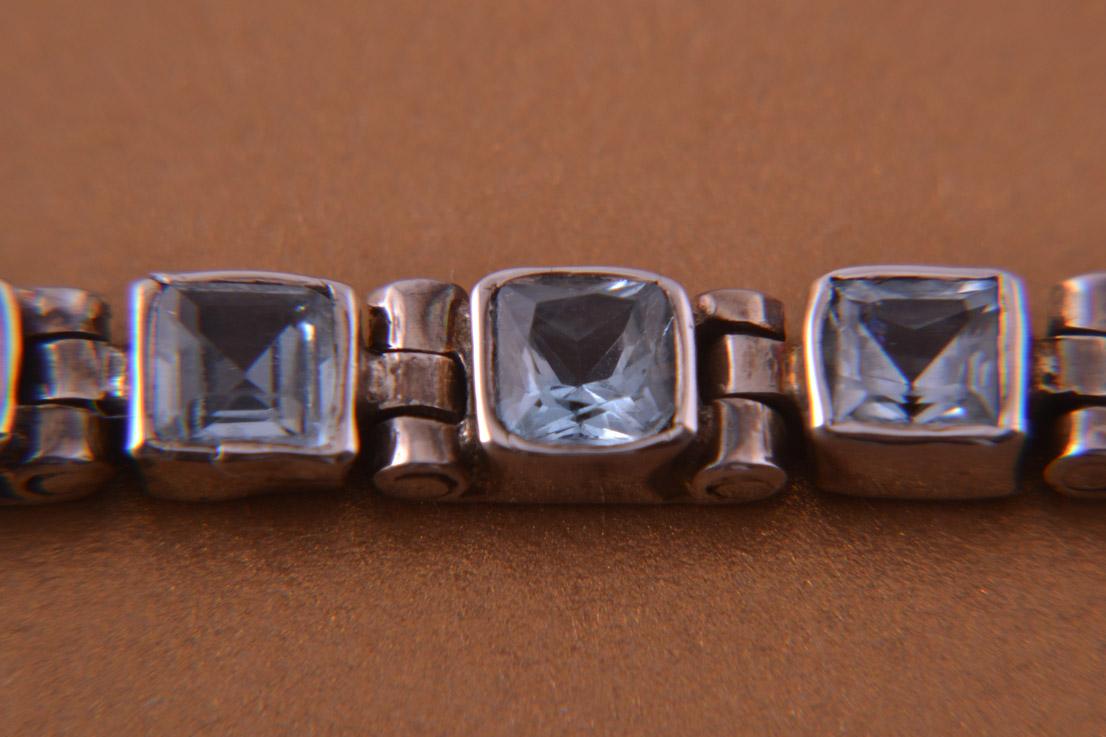 Silver Modern Tennis Bracelet With Blue Topaz Modern