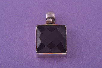 Silver Modern Pendant With Square Onyx
