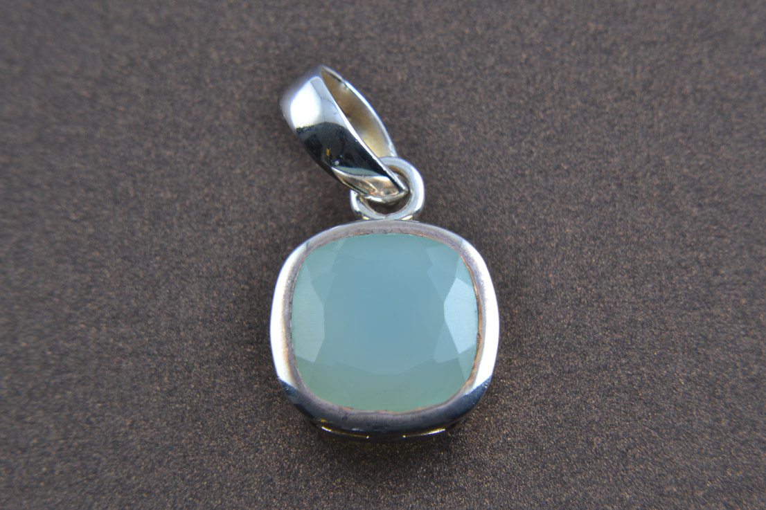 Silver Modern Pendant With Green Calcite