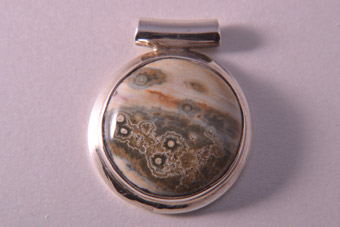 Silver Modern Pendant With A Genuine Stone