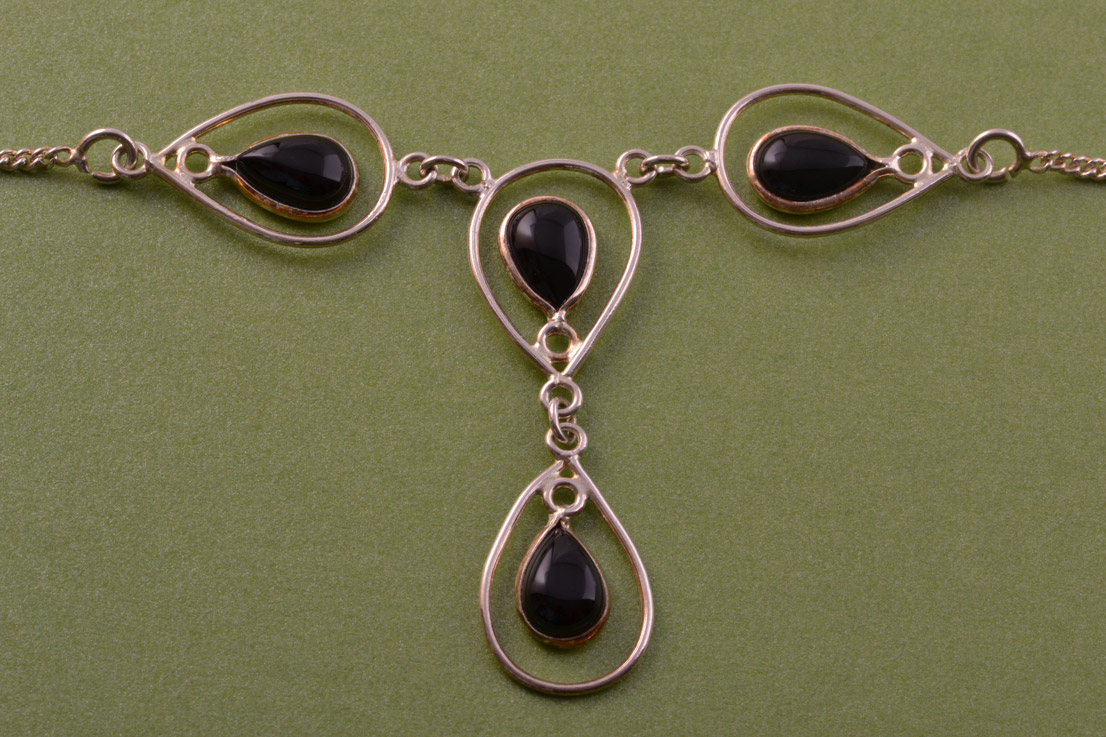 Silver Modern Necklace With Onyx Modern Jewellery