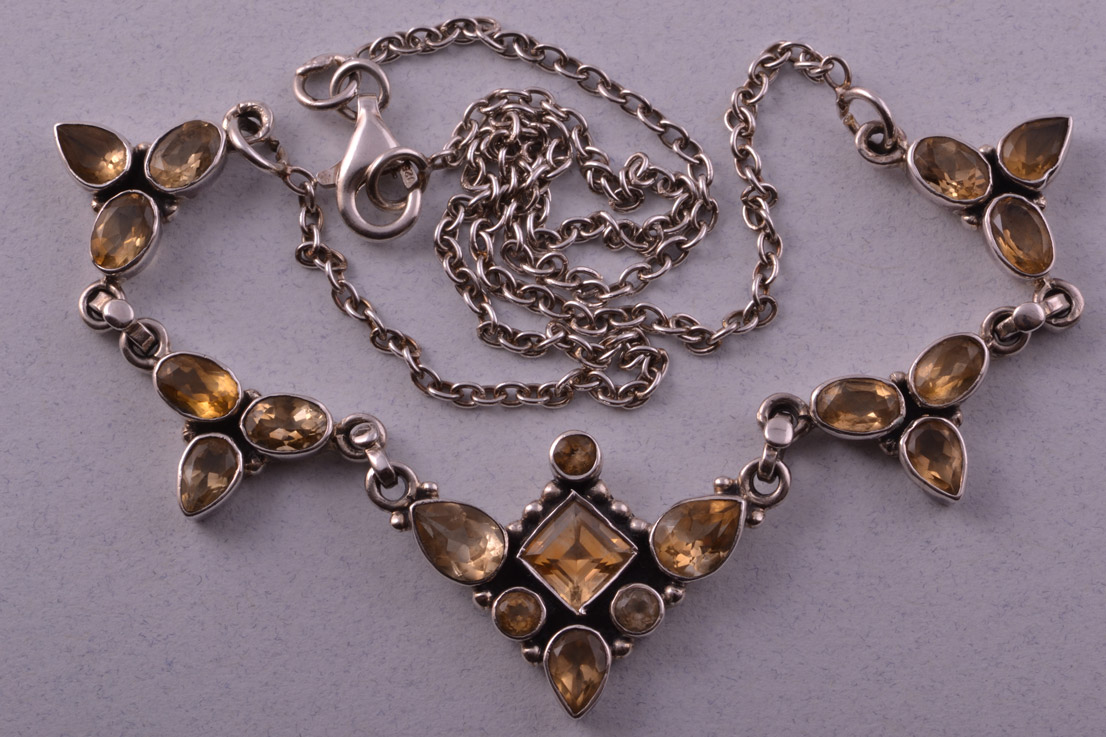 Silver Modern Necklace With Citrine