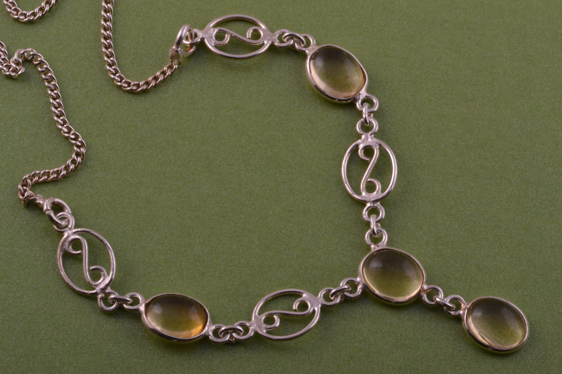 Silver Modern Necklace With Citrines