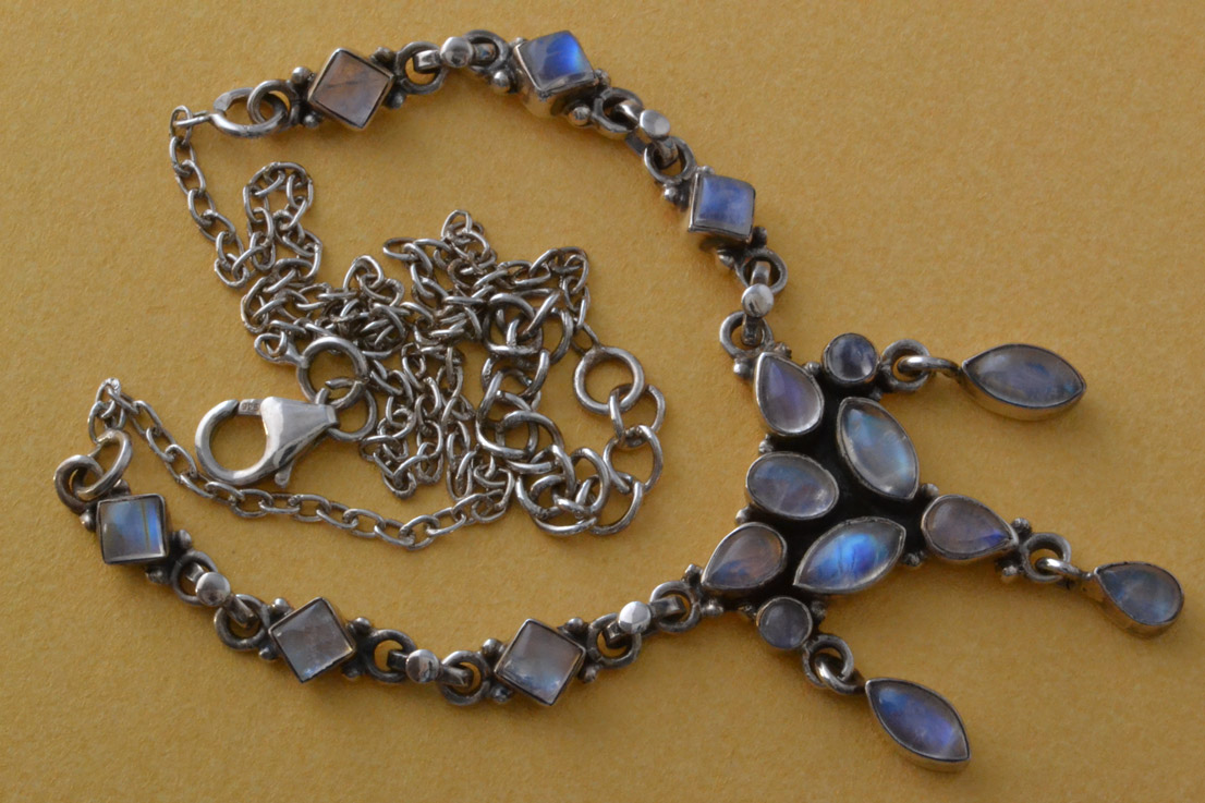 Silver Modern Necklace With Moonstones
