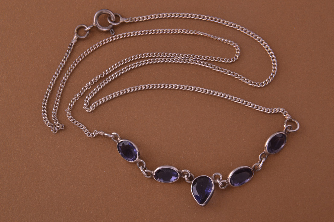 Silver Modern Necklace With Iolite