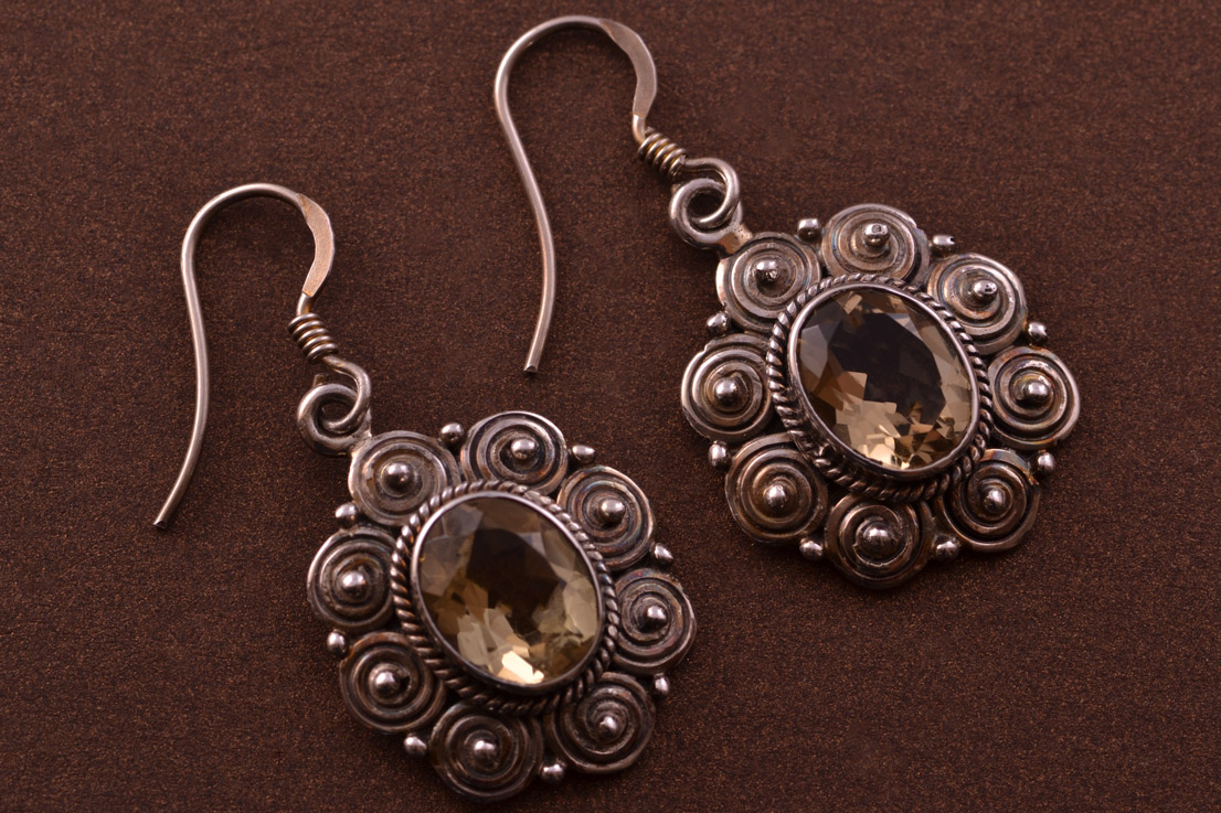 Silver Modern Drop Hook Earrings With Citrines