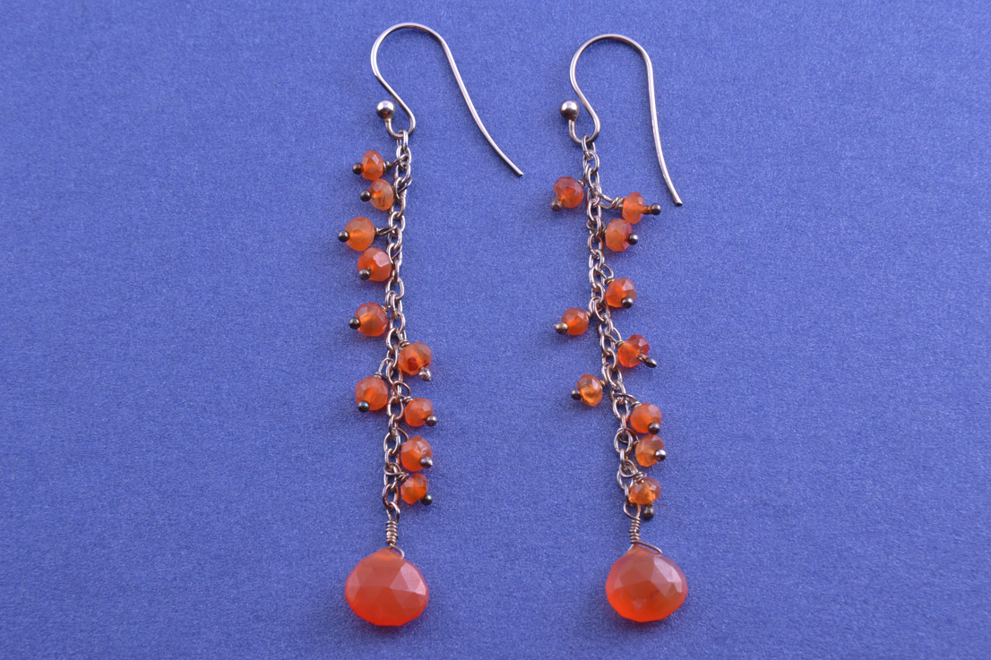 Silver Modern Hook Earrings With Carnelian
