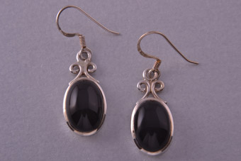 Silver Modern Hook Earrings With Onyx