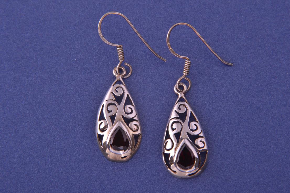 Silver Modern Hook Earrings With Garnets Modern