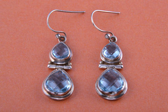 Silver Modern Hook Earrings With Blue Topaz