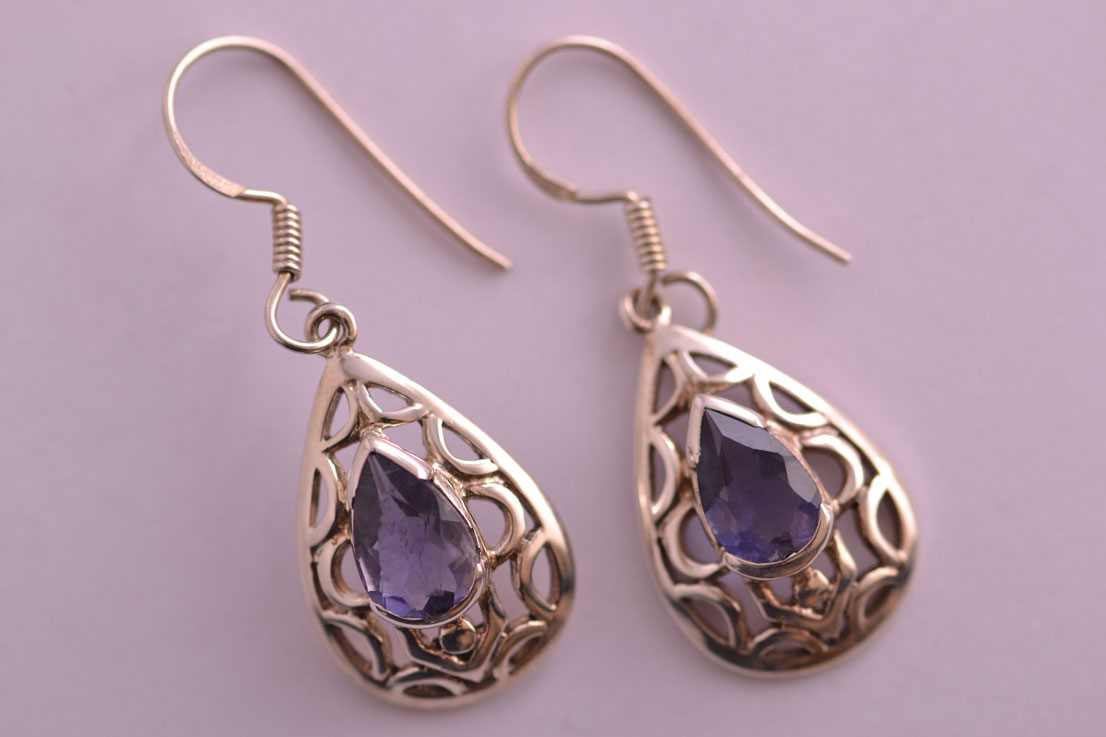 Silver Modern Drop Hook Earrings With Iolite