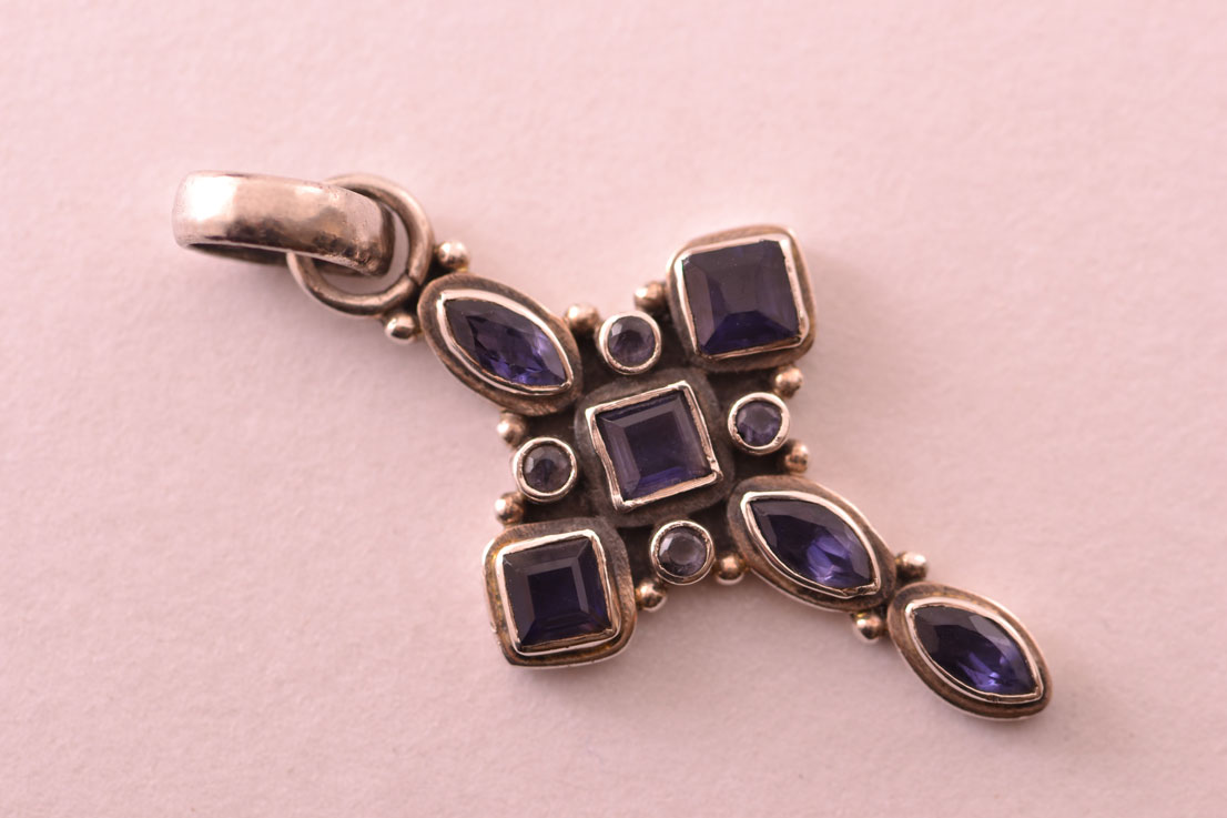 Modern Silver Cross With Iolite