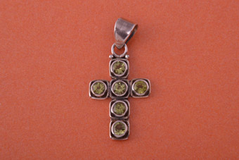 Silver Modern Cross With Peridot