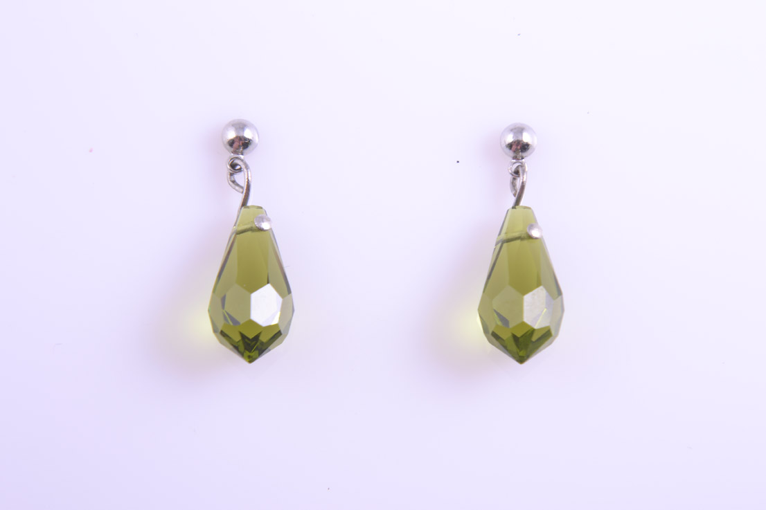 Modern Apple Green Crystal Stud Earrings
