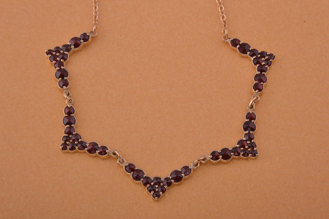 Silver Gilt Modern Classic Necklace With Garnets Modern