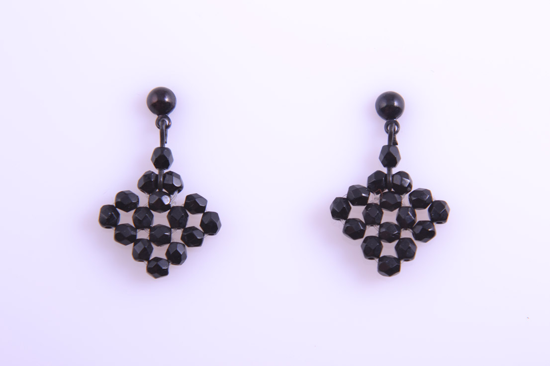 Modern Black Bead Stud Earrings