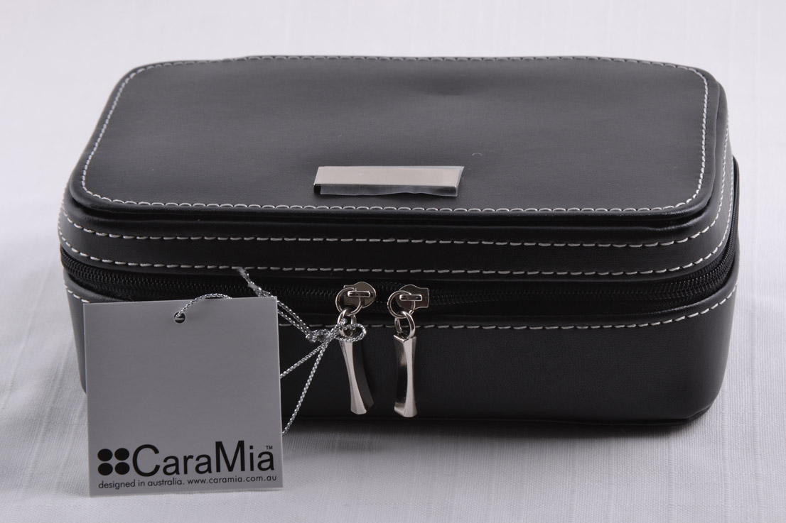 Leather Modern Black Jewellery Box